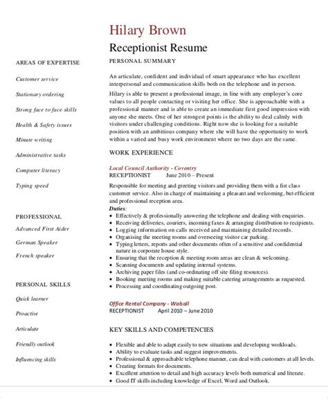 Hr Receptionist Sle Resume by Coverlettersandresume Receptionist 28 Images Cover Letter Receptionist 8 Exles In Word Pdf