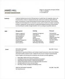 resume template restaurant restaurant manager resume template 6 free word pdf