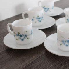 Set B234 Blue set ot two arcopal tea cup saucer set vintage b234 dishware 2 milk