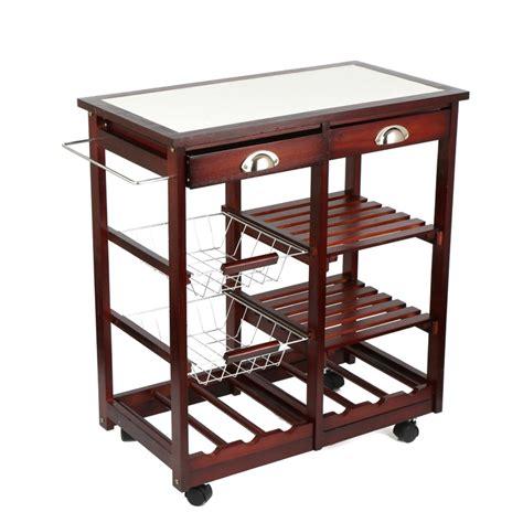 portable rolling cherry wood kitchen trolley basket