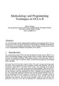 Methodology Outline by Methodology And Programming Techniques In Gcla Ii Springer