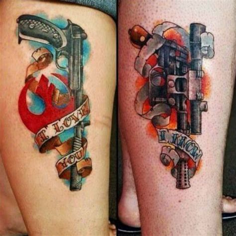 star wars couple tattoos leia and han wars tattoos i you i tattoos