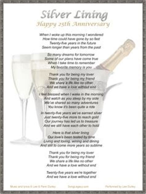 Silver Wedding Anniversary Songs Lyrics by Lyric Sheet For Original 25th Anniversary Song Your