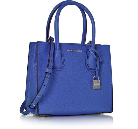 Michael Kors Mercer Medium Electric Blue Signature Coated Canvass michael kors mercer medium electric blue pebble leather crossbody bag at forzieri