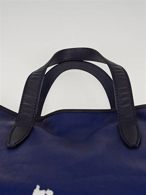 Yves Laurent Raspail Canvas Tote by Yves Laurent Blue White Raspail Cascade Print Coated