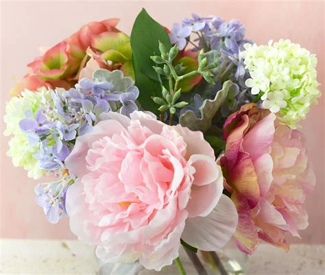 peony vase bouquet with hydrangeas peonies in glass vase