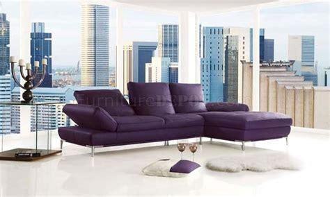 adjustable back sectional sofa purple top grain leather modern sectional sofa w