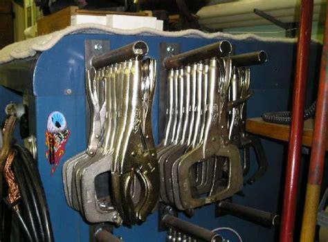 metal fabricating equipment storage and vise grip holder