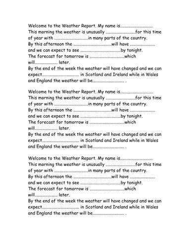 weather report script sle write a weather report by swite teaching resources tes