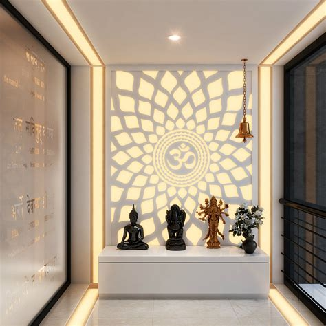 a hypnotic aum back lit panel in the pooja room pooja