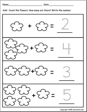 pre k addition worksheets worksheet addition to 10