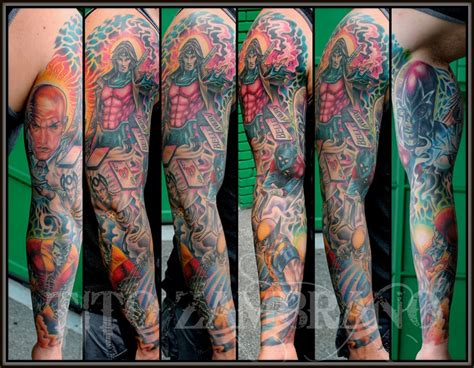 x men tattoos sleeve done by tito zambrano hollywoods twisted