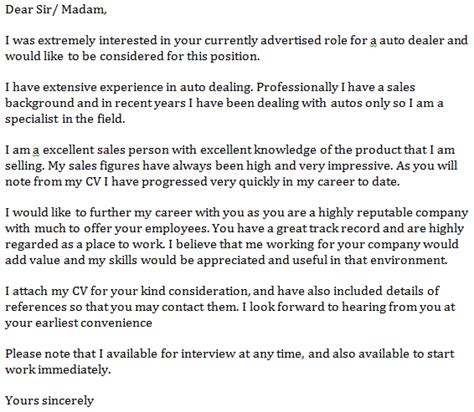 Cover Letter For Car Dealership letter of dealership application descriptive essay topics