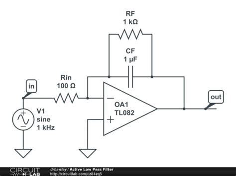 low pass filter circuits active low pass filter circuitlab