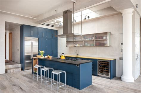 dark blue kitchen royal blue kitchen on light color floors is a modern
