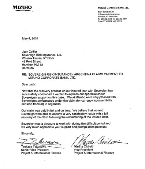 Thanking Letter For Insurance Claim 2004 Client Letter Argentina Claim Sovereign Bermuda