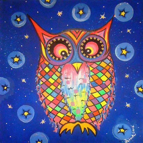 Patchwork Artists - patchwork owl commission print painting by jonathan kania