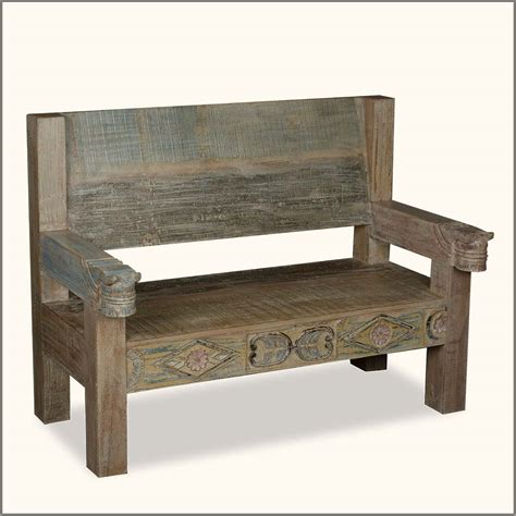 wood bench with back rustic reclaimed wood bench with back and arms of 19