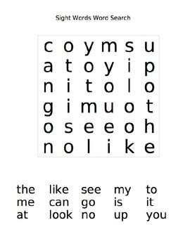 printable word search games for kindergarten sight word word search by susan falvey teachers pay teachers