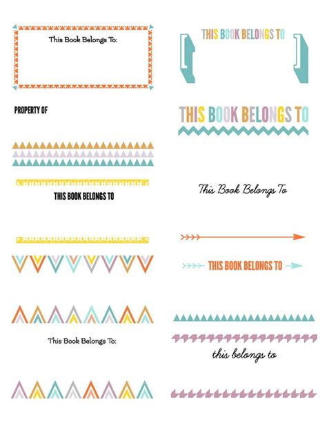free printable bookplates templates bookplates color for avery 2x4 10 to a sheet labels