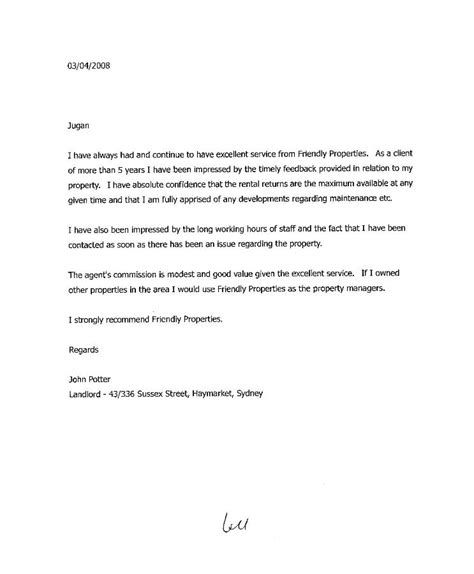 Letter From My Landlord Proving I Pay Rent Landlord Letter Of Recommendation Sle Best Template