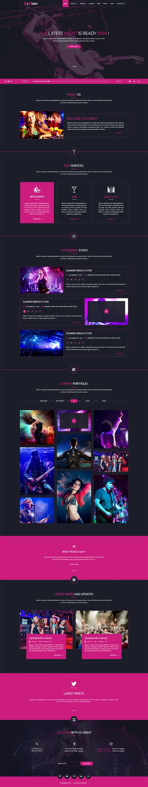 dj themes songs dj night event dj party music club html template by