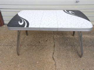 vtg retro kitchen table chrome w formica black white
