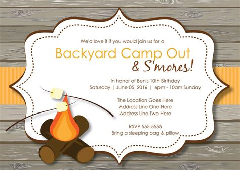 camp out invitations printable free rustic s mores camp out invitations bonfire invitation