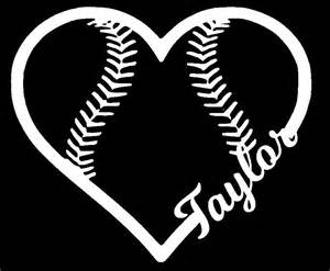 Personalized heart softball vinyl car decal sticker laptop cute