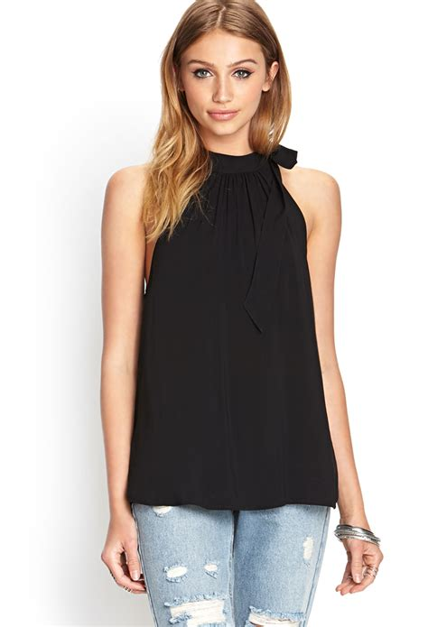 Halter Top forever 21 self tie halter top in black lyst