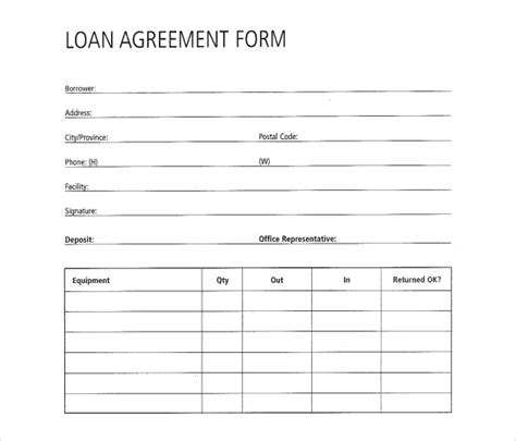loan form template loan contract template 27 exles in word pdf free