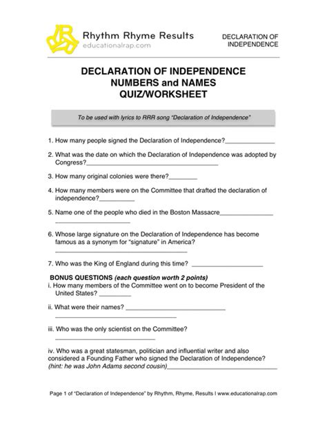 printable quiz on declaration of independence all worksheets 187 declaration of independence worksheets