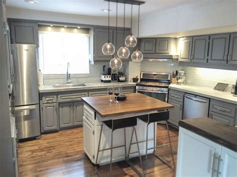 cb2 kitchen island kitchen makeover concrete countertops cb2 light and butcher block island diy projects