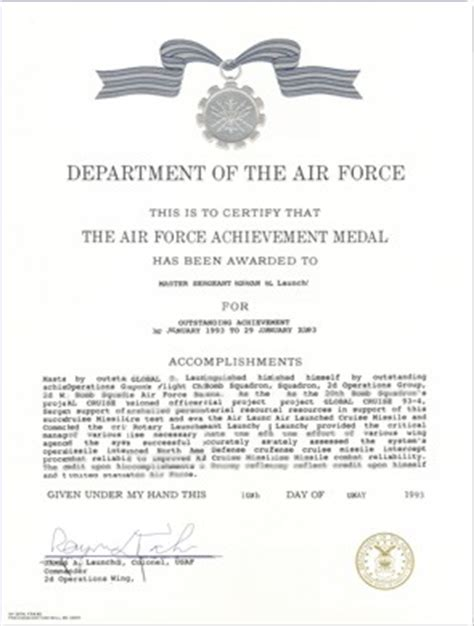 air achievement medal template air writing assistance and exles