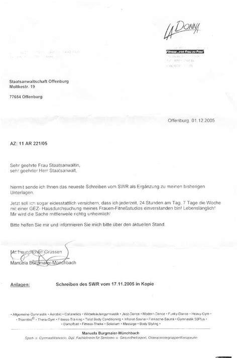 Einschreiben Briefvorlage Fitnessfall Geb 252 Hrenerhebung Durch Straftaten