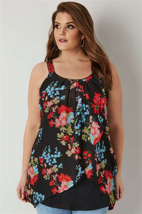 Polkie Asymetric Top black floral print asymmetric top plus size 16 to 36