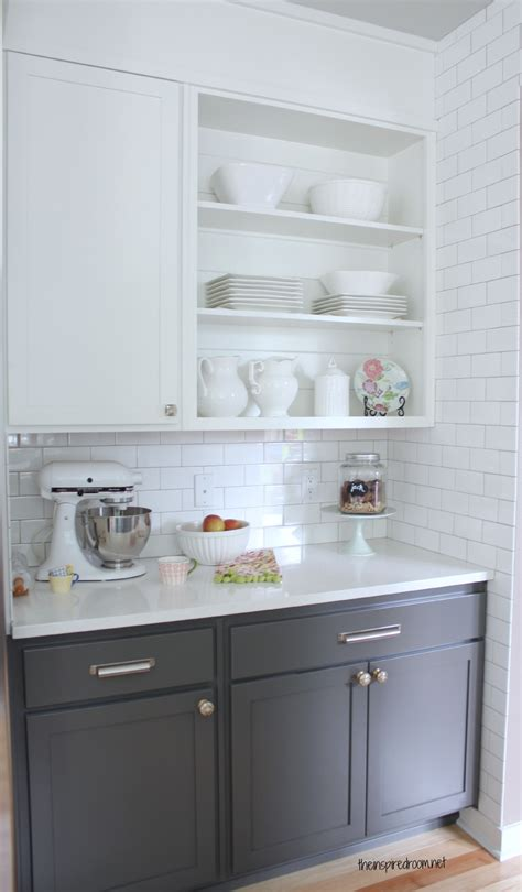 Gray Kitchen With White Cabinets | ideas white upper lower cabinets grey cabinets upper cabinets white subway tile subway