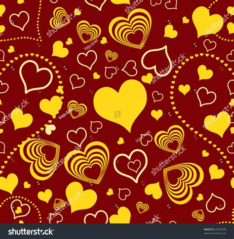Raster Version Of Seamless Wallpaper Valentine With Hearts ... Yellow Hearts Wallpaper