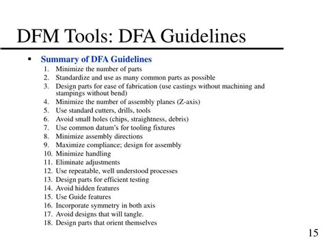 design manufacturability guidelines ppt design for manufacturability dfm powerpoint