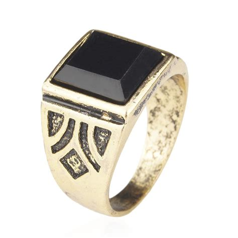 jewelry high quality black gold plated ring