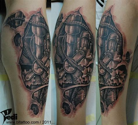 steampunk clock gears biomechanical tattoo gears tattoo