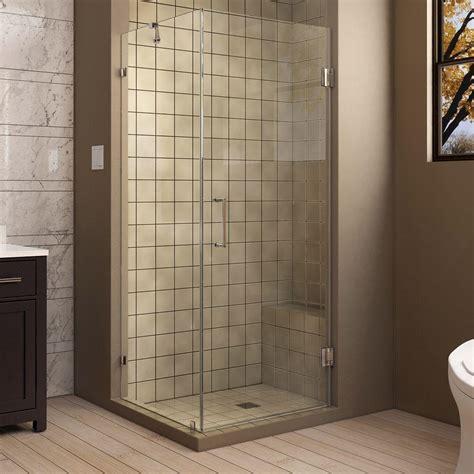 30 Shower Door Dreamline Unidoor 30 In X 72 In Frameless Corner Hinged Shower Door In Chrome With Handle