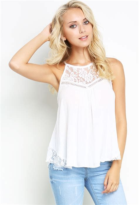 Top Out Cut Blouse Flowy lace accented flowy top shop blouse shirts at papaya clothing