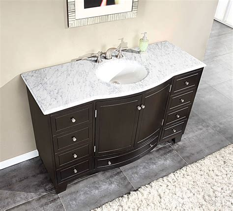 Where To Buy Bathroom Vanity Silkroad 55 Inch Single Sink Bathroom Vanity Carrara White