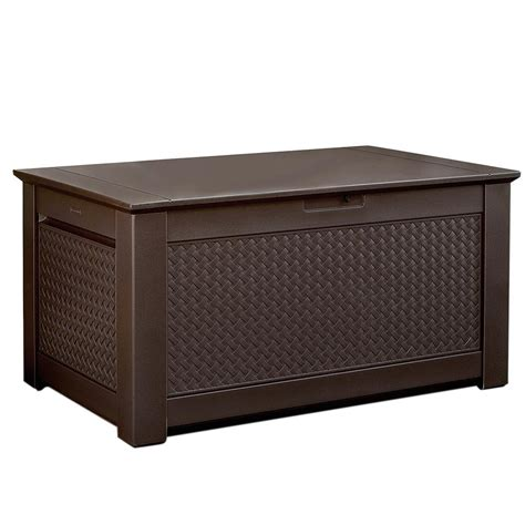 outdoor storage bench home depot rubbermaid patio chic 93 gal resin basket weave patio