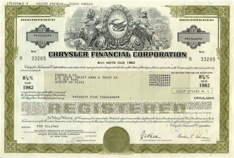 bond certificate template chrysler corporation bond certificate