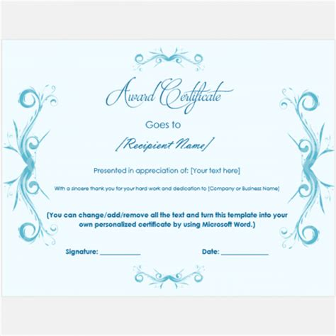Award Certificate Templates Free Printable Documents Microsoft Award Templates