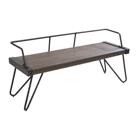 industrial benches lumisource stefani industrial bench in antique metal and