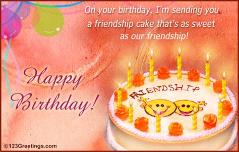 Birthday Card Messages For Friends Happy Birthday Wishes For Friend Friendship Cake To