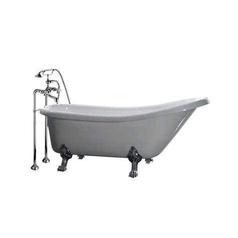 all in one bathtub all in one 5 5 ft acrylic chrome clawfoot slipper tub in